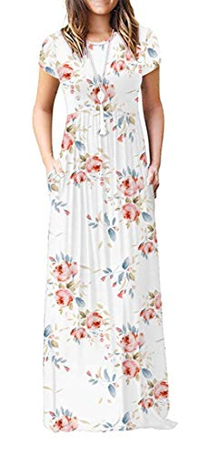 Euovmy Women's Short Sleeve Loose Plain Dresses Casual Long Maxi Dress with Pockets Flower White XX-Large