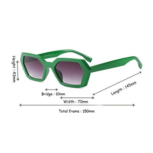 Square Frame UV400 Goggle Mujeres Gris sol Verdoso de sol Gafas Vintage Polígono Gafas de Green Aiweijia Summer Leopard de Fashion xfvzTqa