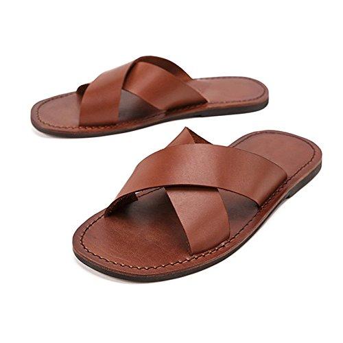 di Uomini Cuoio Retro di Mano NIUWJ degli Sandali Uomini di Svago degli di Pantofole di A Fatti Modo Brown Estate 0zFRwqv