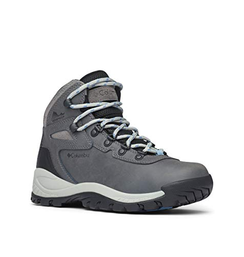 Columbia Women's Newton Ridge Plus Hiking Boot, Quarry/Cool Wave, 7.5 Regular US (Women Wide Boots Hiking)