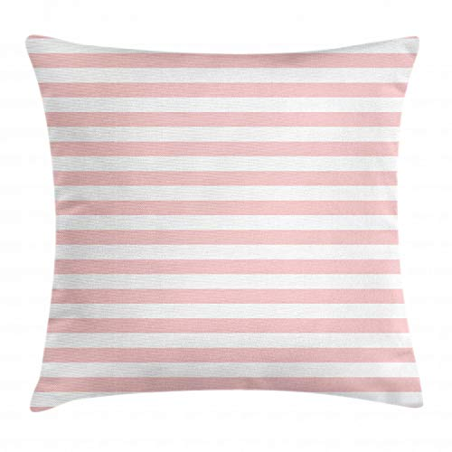 Lunarable Blush Throw Pillow Cushion Cover, Retro Style Pastel Colored Pink Stripes on White Background Vintage Geometric Design, Decorative Square Accent Pillow Case, 20 X 20 Inches, Rose White