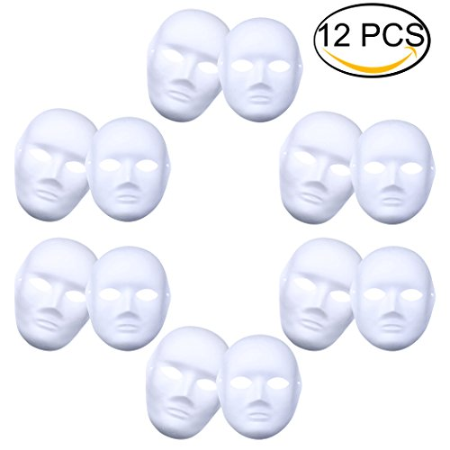 Coxeer DIY White Mask, 12 PCS Paper Full Face Opera Masquerade Mask Plain Mask (DIY White (Paper Halloween Mask)