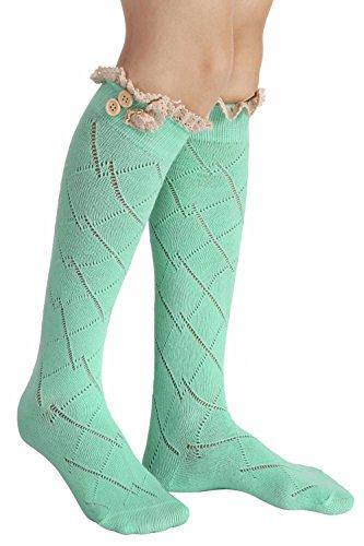 Green Leg Socks Socks Socks Bow Womens Warmer Boot Long Boot Crochet Sexy Soft Lace OUpqAHBw