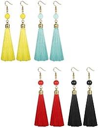 2-4 Pairs Thread Tassel Earrings Set Long Dangle Earings for Women Girls