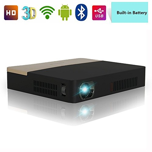 DLP Projector Portable-Wireless Android Projector 1080P With Built in Battery & Bluetooth & 3D Ready, Auto Keystone Correction HD Projector WiFi 1280x800 for Powerpoint Presentation Movie Game Camping by CAIWEI