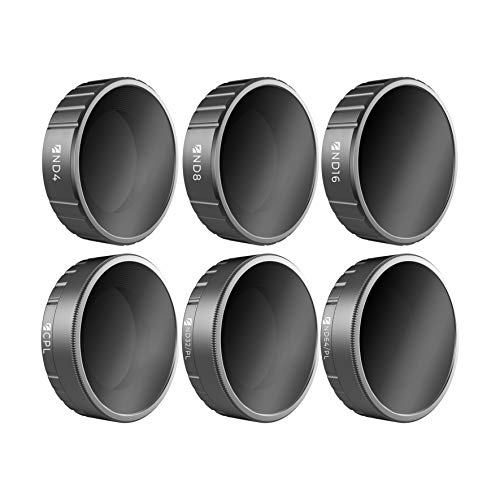Freewell Budget Kit -E Series - 6Pack ND4, ND8, ND16, CPL, ND32/PL, ND64/PL Camera Lens Filters Compatible with DJI Osmo Action -