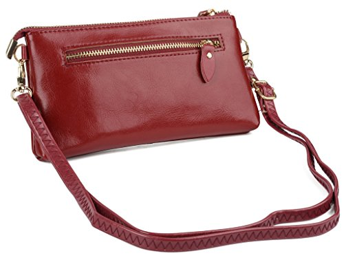 YALUXE Women's Large Capacity Genuine Leather Smartphone Wallet with Shoulder Strap Red Photo #2