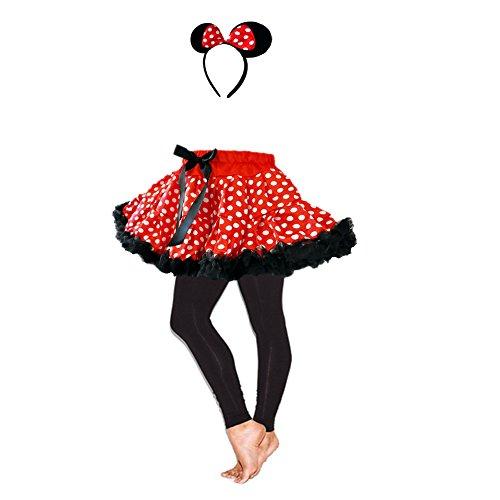 Mouse Ears Child's Red/White Polka Dot Tutu Ruffle Trim w/Leggings & Headband Set (Red And White Polka Dot Leggings)