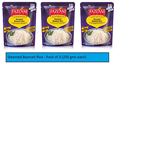 FAZLANI FOODS Ready to Eat Steamed Basmati Rice -Pack of 3, 250 gm Each