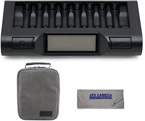 Powerex MH-C980 Turbo Charger Analyzer for AA/AAA Batteries with Powerex Accessory Padded Bag Travel Kit (New 2019 Model)