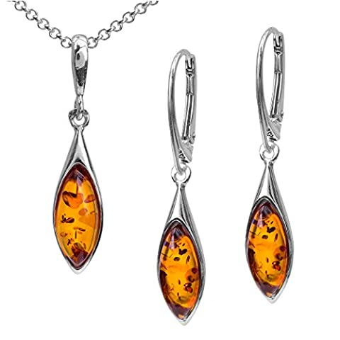 Sterling Silver Amber Earrings Necklace Marquise Set 18 Inches (Amber And Silver Necklace)