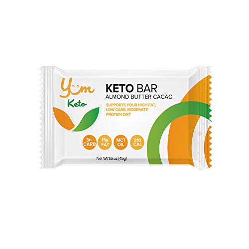 YUM Keto Bar, Almond, MCT Oil and Cacao Butter – Keto Snacks Low Carb Chocolate Keto Food – Ketogenic, Paleo, Low Carb and Glycemic Diet Friendly – 3g Net Carbs 6 Count