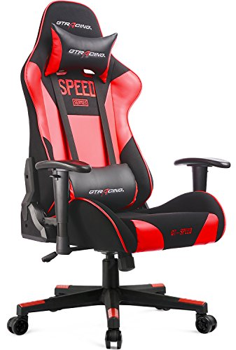 414lUjdv3AL - GTracing-Fabric-And-PU-Gaming-Chair-Racing-Chair-Backrest-And-Height-Adjustable-E-sports-Chair-Ergonomic-Computer-Office-Chair-Furniture-With-Pillows-BlackRed