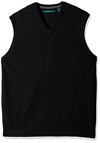 Perry Ellis Men's Pullover V-Neck Sweater Vest, Black Heather, Medium by Perry Ellis