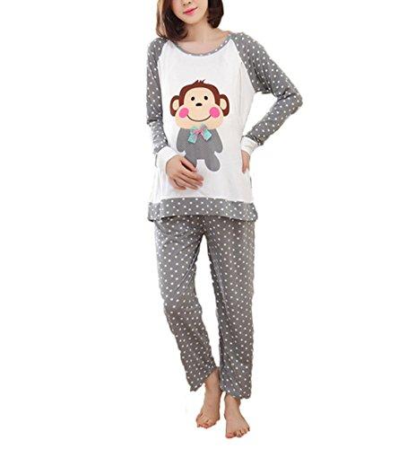 5b082485d9c44 Bold N Elegant Cute Champ Monkey Grey Polka Dot Soft Cotton Maternity  Sleepwear Sets Pregnancy Night