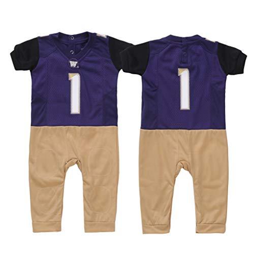 FAST ASLEEP NCAA Boys Infant Football Uniform Pajamas, 9-12 Months, Purple