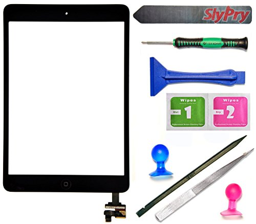 Prokit For Black iPad Mini Touch Screen Digitizer Complete Assembly with IC Chip & Home Button replacement with SlyPry opening tool kit Ships from CA USA (Ipad 3 Mini Screen Replacement)