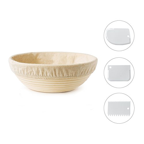 Bread Rising Proofing Basket,with Linen Cloth and 3 Scrapers,Perfect for Bread Making.10 Inch,Premium quality.