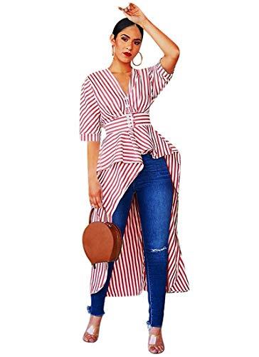 ECHOINE Hi Low Dresses for Women-Bodycon V Neck Stripe Irregular Hem Flowy Button Down Tunic Tops Tshirts Oversize Pink L ()