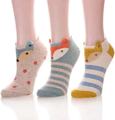 6dd57cd777c6c Color City Womens Novelty Cute Funny Ankle Socks - Cartoon Animal No Show Low  Cut Socks