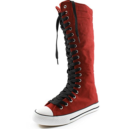 DailyShoes Women's Canvas Mid Calf Tall Boots Casual Sneaker Punk Flat, Red Boots/Classic Black Lace,9 B(M) (Red Flat Boots)