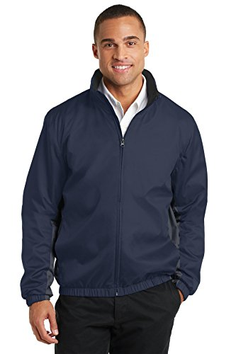 Port Authority Core Colorblock Wind Jacket. J330 Dress Blue Navy/ Battleship Grey XL Colorblock Jacket Dress