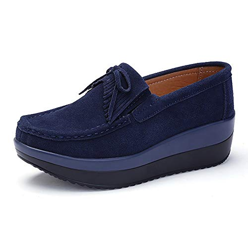 Shoes Leather Women Yao Fringed 40 Fashion Snail Blue Peas Bottom Single Thick yq44t0frgK