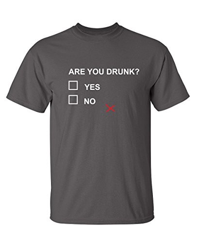 Are You Drunk College Funny Novelty Graphic Drinking T-Shirt L Charcoal