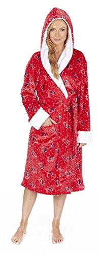 Para mujer muy suave albornoz de forro polar invierno señoras con capucha animal print Túnica Red Robin