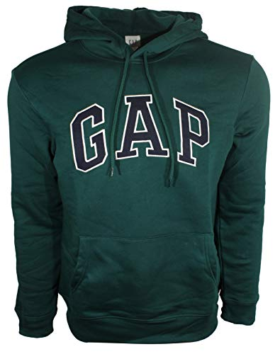 (GAP Mens Fleece Arch Logo Pullover Hoodie (X-Large, Dark Green))