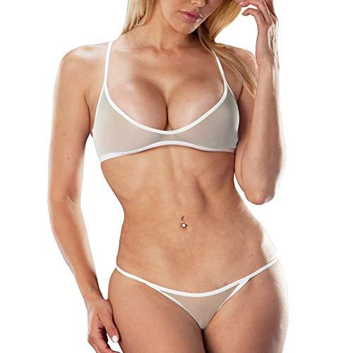 Sheer Womens Bikini - SHERRYLO Sheer Bikini Set See Through Bathing Suit Women's Beachwear Mesh Swimwear Racer Bra Bikini Top Brazilian Bottom White