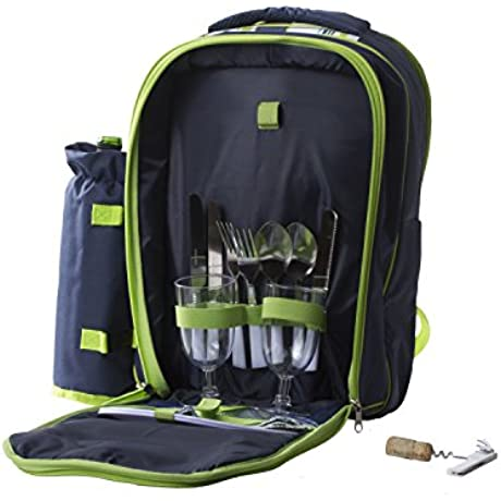 Insulated Picnic Basket Lunch Tote Cooler Picnic Backpack W Two Place Setting Blue Green