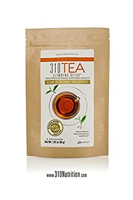 310 Nutrition, 310 Tea Slimming Detox Organic Gree Tea with Yerba Mate, Guarana, and More Natural Ingredients, Comes with Free eBook