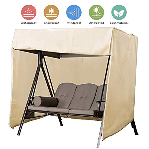 Upgraded Patio Swing Cover Porch Swing Cover 3 Seater 420D Hammock Glider Canopy Replacement Cover Durable Waterproof UV Resistant Weather Protector Outdoor Patio Furniture Cover 87