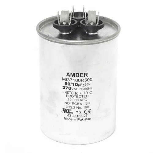 43-25133-27 10 UF//MFD 370 Volt Ruud OEM Round Replacement Dual Run Capacitor 50
