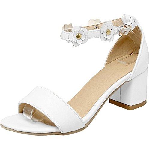 Strap Flowers FANIMILA White Sandals Ankle Fashion Women Block Toe Shoes Heel Open wqqtUSp