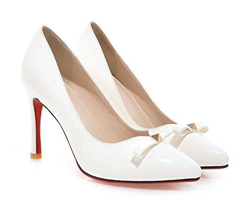 Aisun Womens Stylish Bowknot Stiletto High Heels Dress Pumps Shoes White eyYdSm6