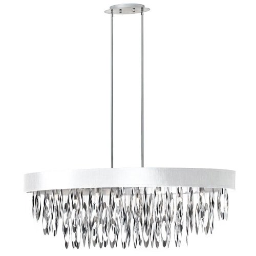 (Dainolite Lighting ALL-438C-PC-WH 8-Light Oval Chandelier with White Shade, Polished Chrome Finish)