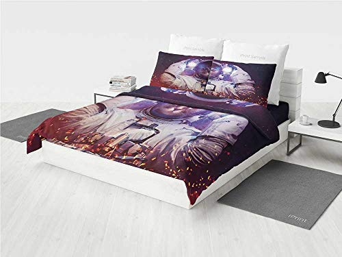- Space Cat MLB Twin Bedding Set Astronaut Cat in Suit Outer Space Nebula Galaxy Cosmos Fire Image Printing Four Pieces of Bedding Set Purple Dark Blue and White