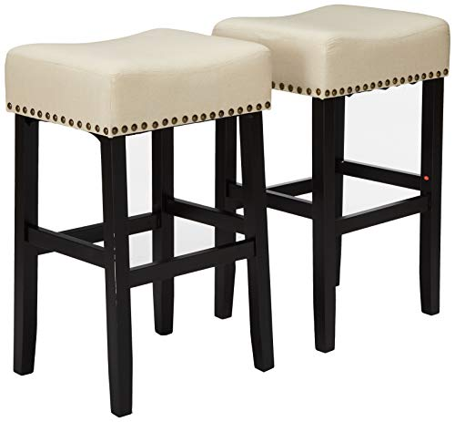 Christopher Knight Home 295743 Chantal Backless Beige Linen Counter Stools with Brass Nailhead Studs, Set of - Inch Set 26 Vanity