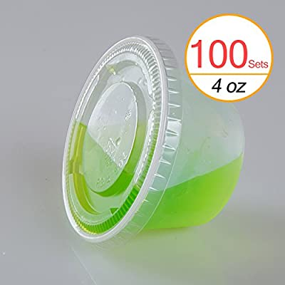 TashiBox 4 oz Plastic Cups / Disposable Portion Cups / Souffle Cups with Lids, 100 Sets