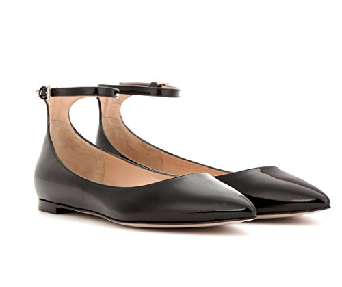 Eldof Womens Galala Patent-Leather Point-Toe Flats Office Off-Duty Flats Shoes Grosgrain Bow Shoes Black-strap v3Zvqm1IqD