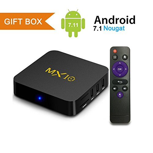 Android TV Box, MX10 Android 7.1 TV Box with RK3328 Quad Core 4GB DDR4 RAM 32GB ROM Smart TV Box Support 2.4GHz WIFI/100M LAN/3D Movies/4K Solution by Mrtech