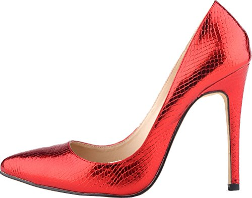 CFP YSE-302-1XEY Womens Wedding Party Formal Leisure Occasions High Heel Crocodile Skin PU Sturdy Stilettos Charming Pointed Toe Lissom Classic Trend Crafted Office Business Pumps Red XDAadxj