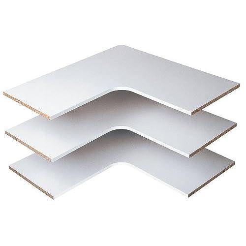Ordinaire Easy Track RS3003 29 7/8 Inch Corner Shelves, White