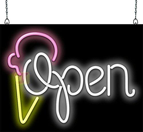 Open Ice Cream - Open with Ice Cream Cone Neon Sign