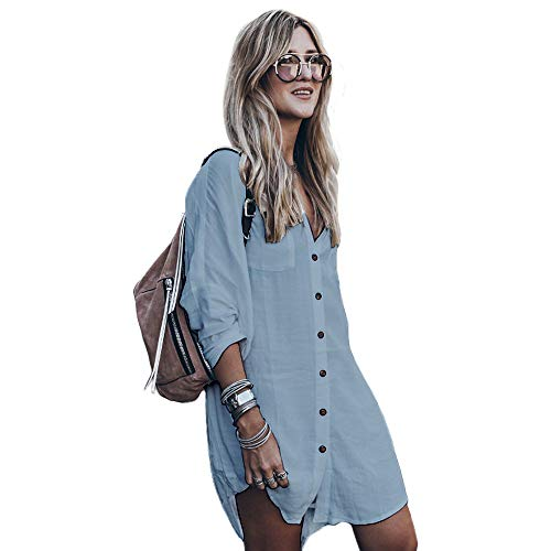 Women's Swimsuit Cover up,Silky T Shirt Button Midi Dress Kimono,Summer Bathing Suit Beach Coverups for Women (CP-Aline) (Blue, Size A (Fit XS-M, US 2-8)) -