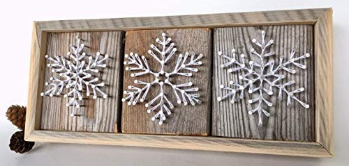 String art Snowflake gifts. Snowflake sign for Christmas and Hanukkah themed and winter decor. Made in Maine by Nail it Art