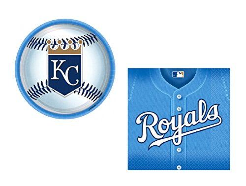 Kansas City Royals Party Supplies Bundle For 24 MLB for Birthdays and