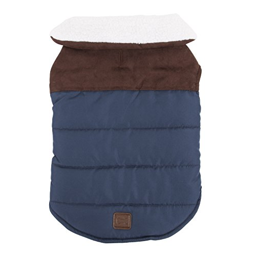 SimplyDog Dark Blue with Vegan Leather Yoke Wraparound Jacket and Wooly Collar Trim (Medium) (Yoke Trim)